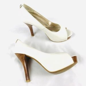 Michael Kors peep toe white leather platform heels